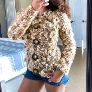 Anthro ONE GIRL WHO Chunky Knit Cardigan Sweater